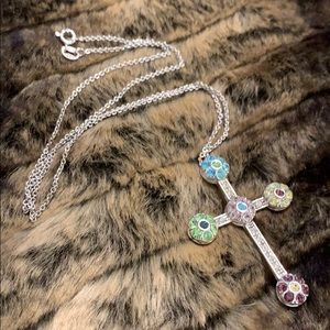 Colorful, gemstone cross necklace! SS-925 #A51